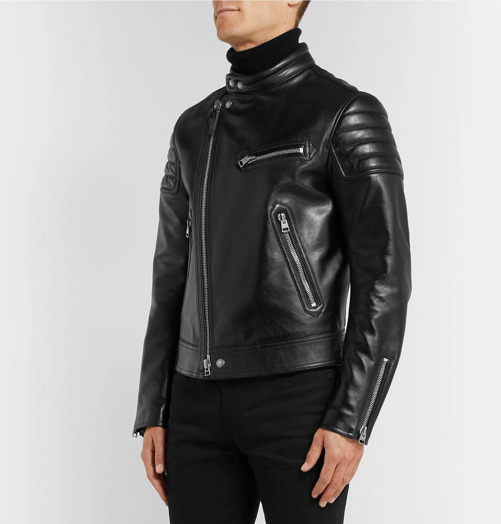 Black Slim Fit Leather Jacket Tom Ford Mr Porter Leather Jacket Slim Fit Saint Laurent Jeans [ 2089 x 2000 Pixel ]