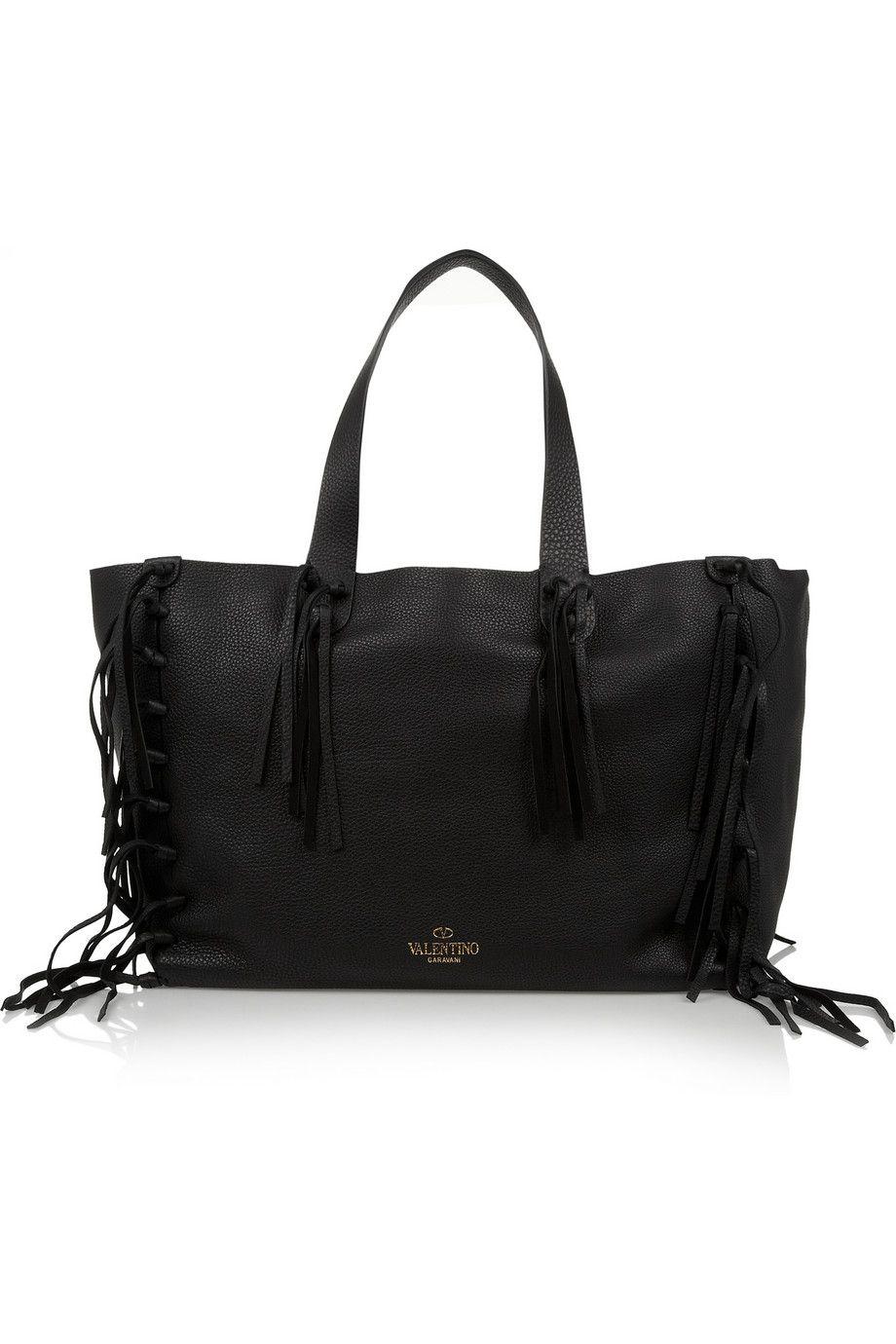 Valentino|C-Rockee tasseled leather tote|NET-A-PORTER.COM