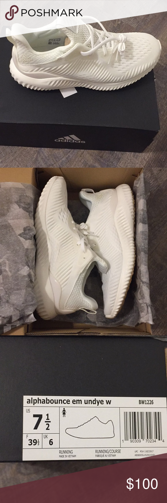 b6f625b8eaacf Adidas Alphabounce EM Undye Shoes Completely unworn. Selling because  they re too big for me so getting the smaller size. adidas Shoes Athletic  Shoes