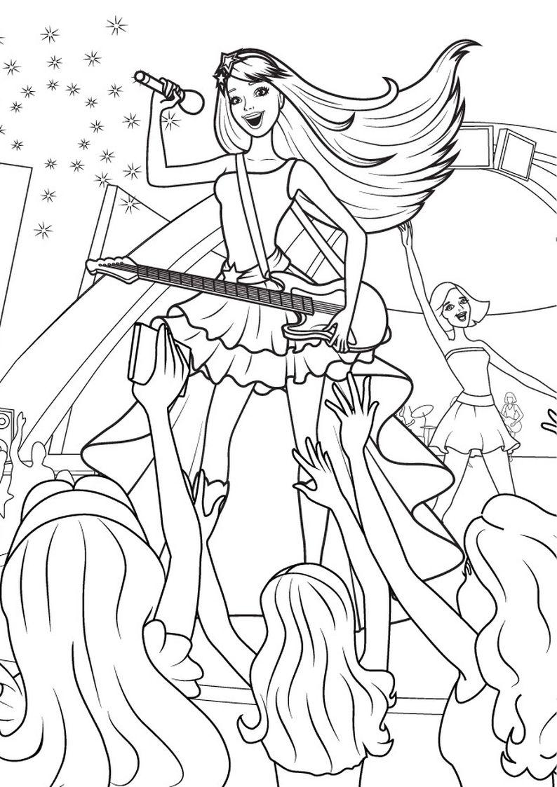 Kolorowanka Barbie Piosenkarka Z Gitara Obrazek Do Wydruku Nr 5 Coloring Pages Barbie Coloring Barbie Coloring Pages