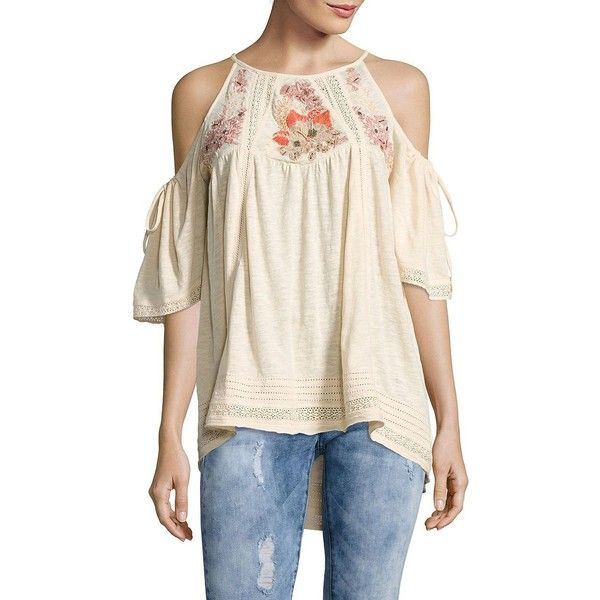 3c8fcaa32df2ab Free People Fast Times Cold-Shoulder Embroidered Top ( 128) ❤ liked on Polyvore  featuring tops