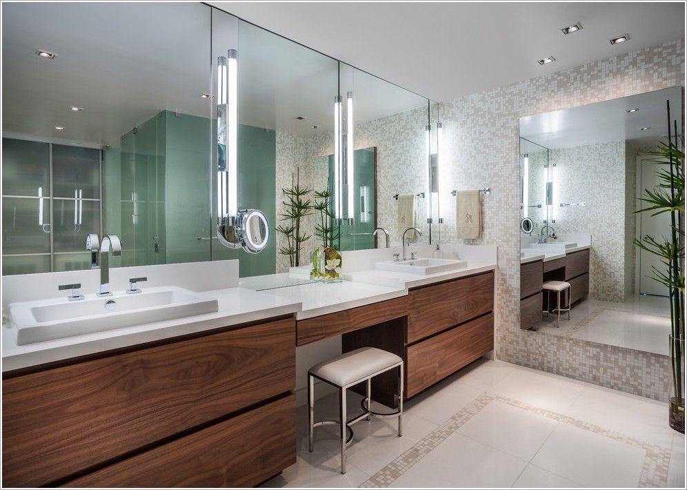Bathroom Contemporary Miami Bisazza Custom Made Mosaic Tiles Bright Master Double Sink Make Up Area Modern Faucet Rectangular Vanity V