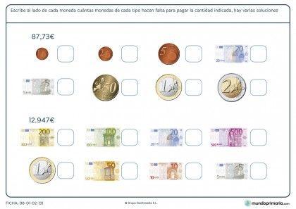 Ficha de monedas y billetes para primaria