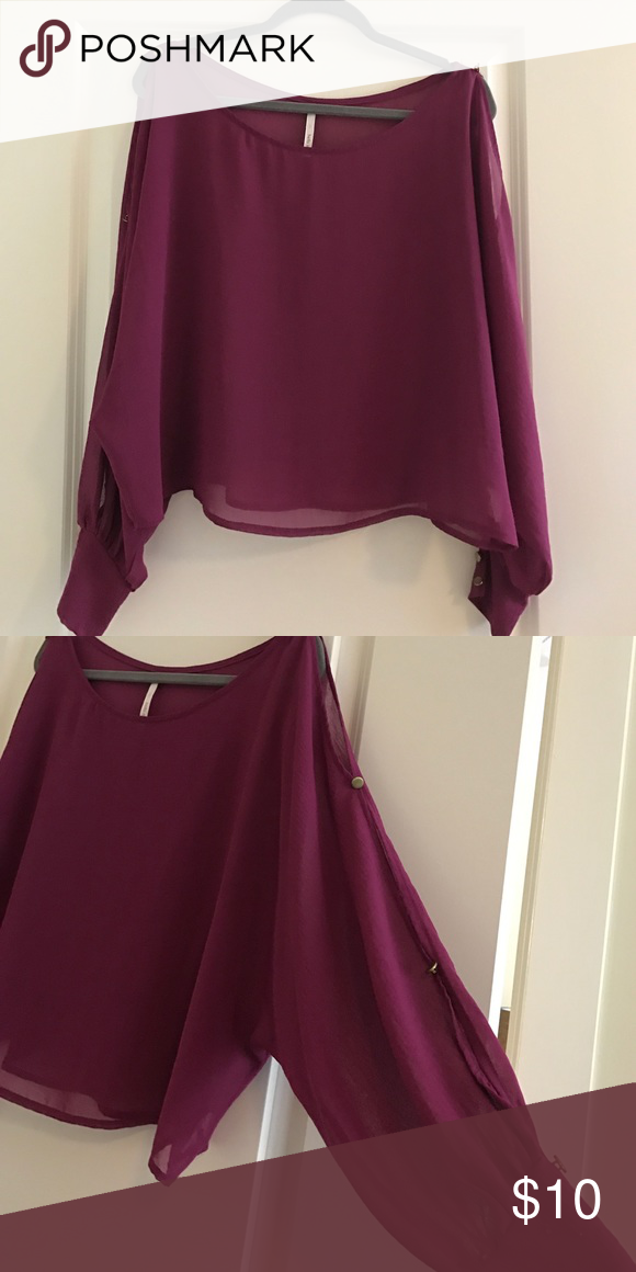 Off the shoulder cut out sleeve blouse Purple off the shoulder shirt. Adorable cut out sleeves and cuff wrist. Tops Blouses