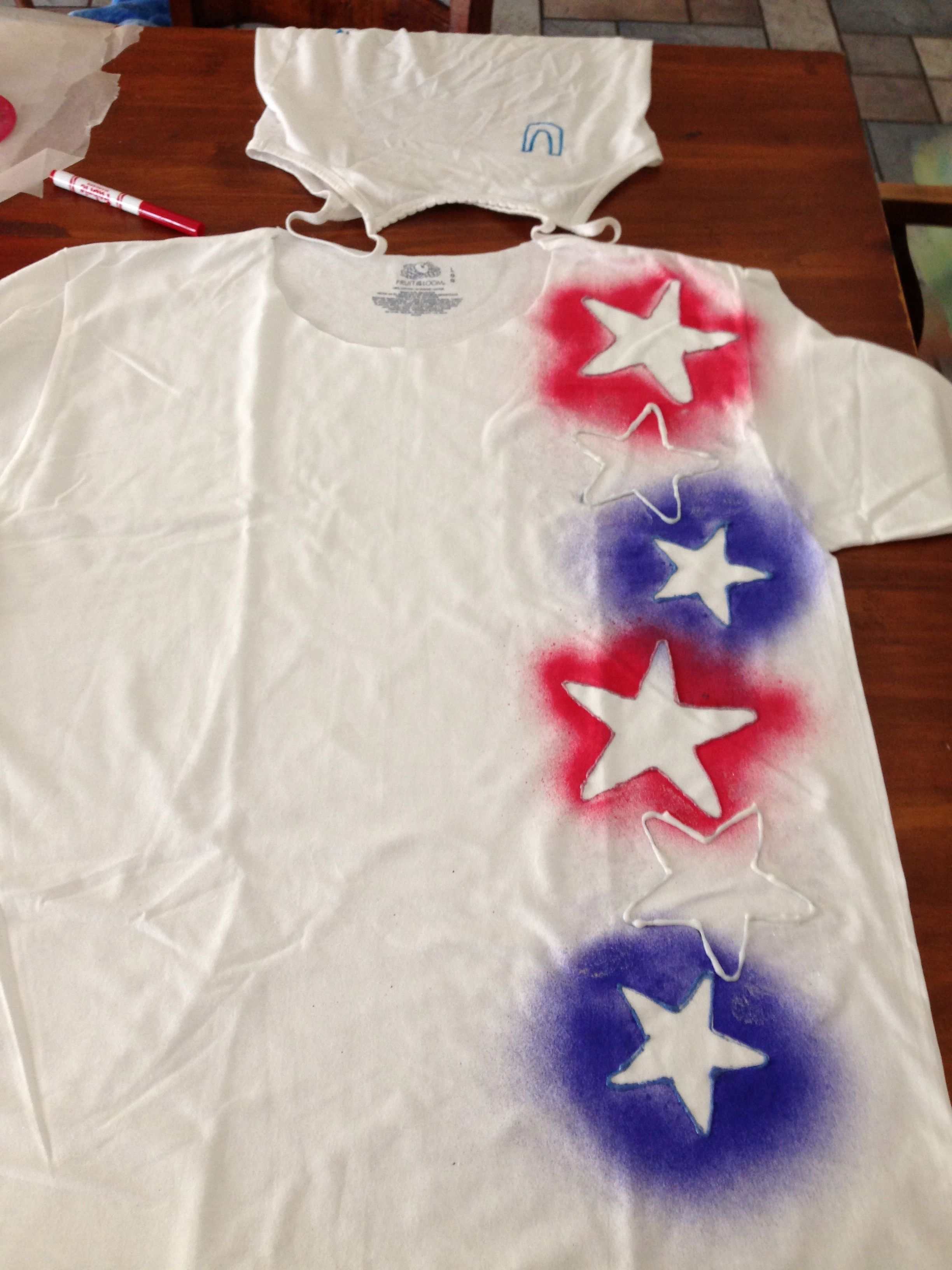 Spray Paint T Shirt Ideas Part - 21: Fourth Of July Shirt: Fabric Spray Paint And Cookie Cutters.