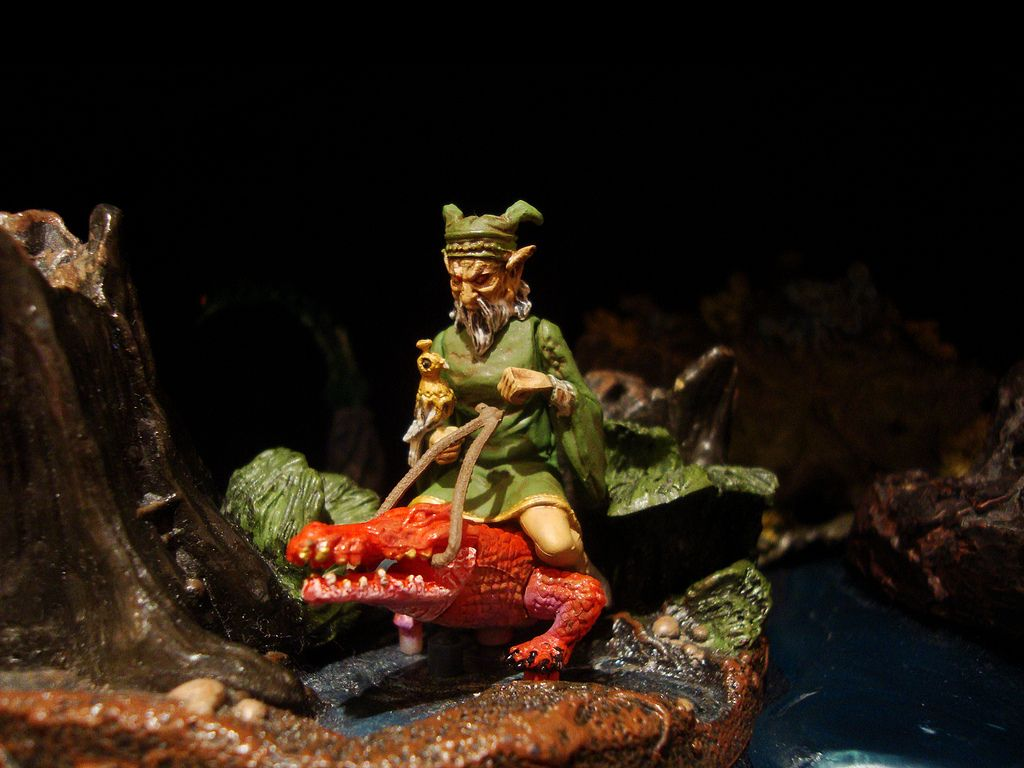 The demon Agares riding a red crocodile