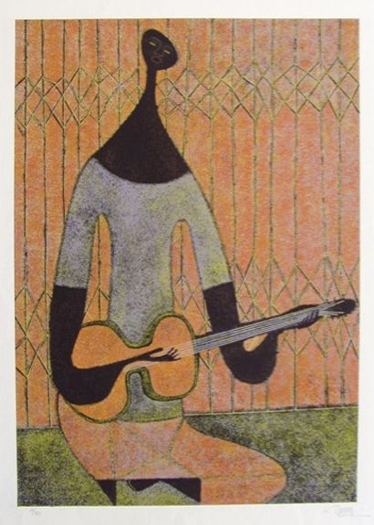 Arturo R  Luz : Man with Guitar   Pinoy Artists' Works in 2019
