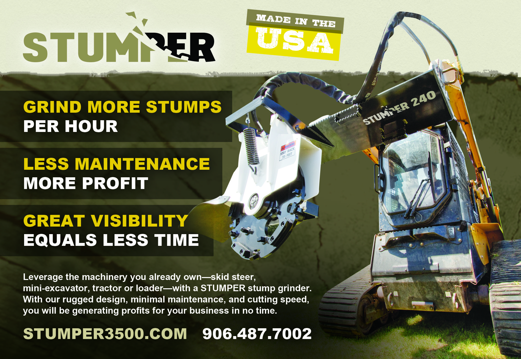 Fast and low maintence stump grinding attachments for
