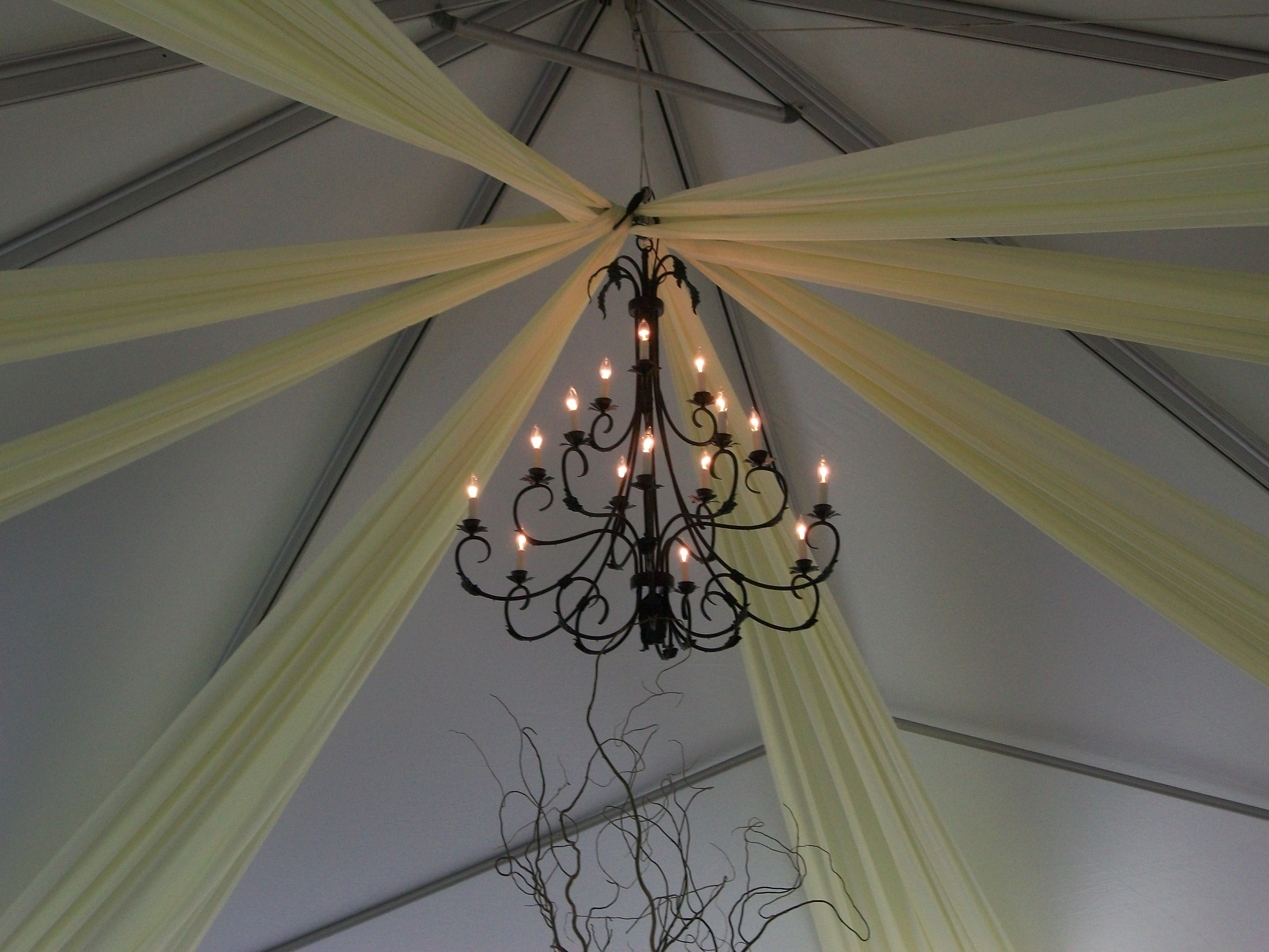 Draping w/ Chandelier (With images) Event decor