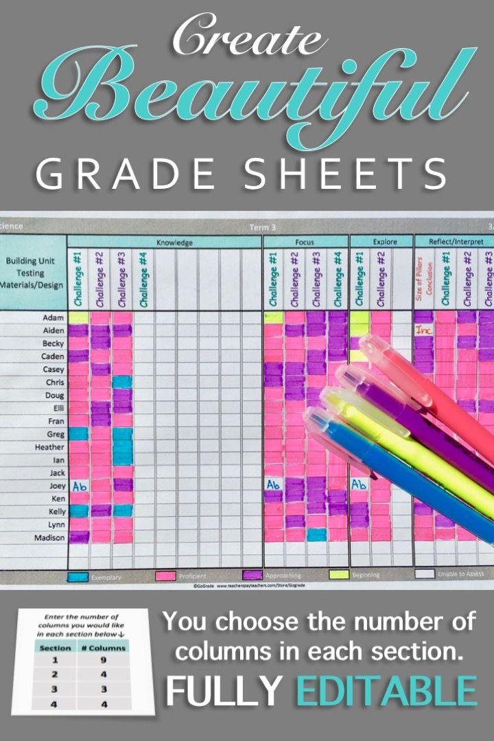 Gradebook Template Editable and Printable Pinterest