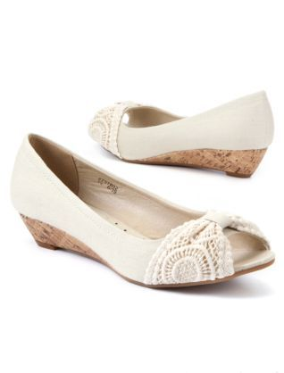 winter white wide fit crochet low wedge