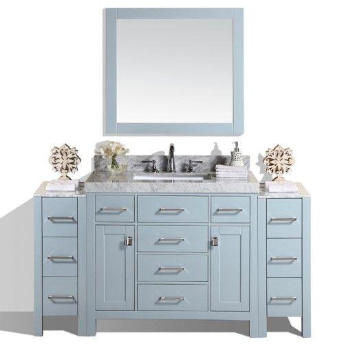 64 Inch Malibu White Single Modern Bathroom Vanity With 2 Side
