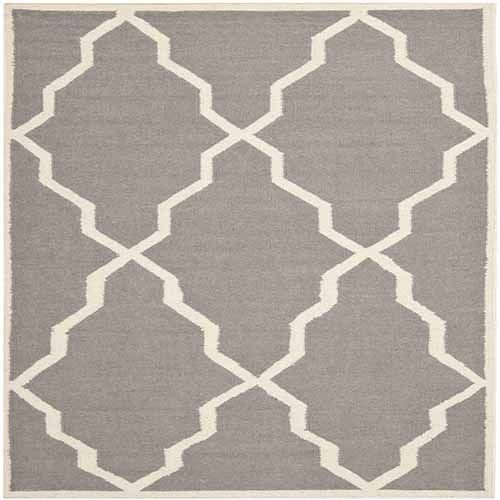 Dhurries Grey and Ivory Rectangle: 5 Ft. In. x 8 Ft. In. Area Rug - (In Rectangular)