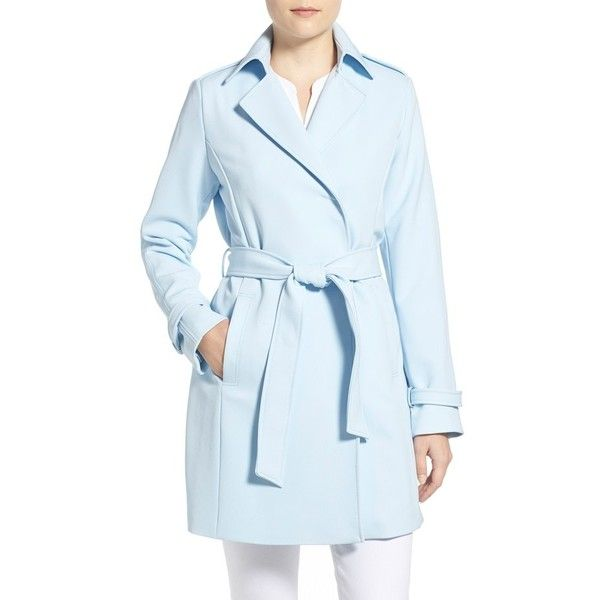 Women's T Tahari Crepe Trench Coat (175 BAM) ❤ liked on Polyvore featuring outerwear, coats, baby blue, petite, trench coats, elie tahari, petite coats, blue coat and blue trench coat