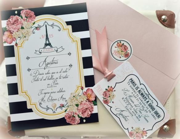 Invitacion De 15 Anos Tema Paris Souvenirs E