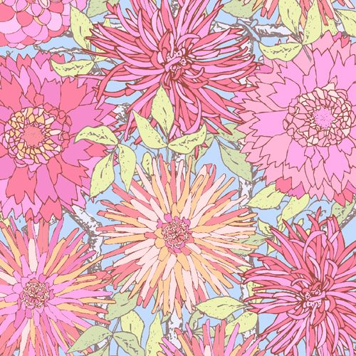These fresh designs by Modern Quilt Studio pair funky colors with Victorian style patterns. Click on the picture to  see the entire collection. Pattern A-5981-B.