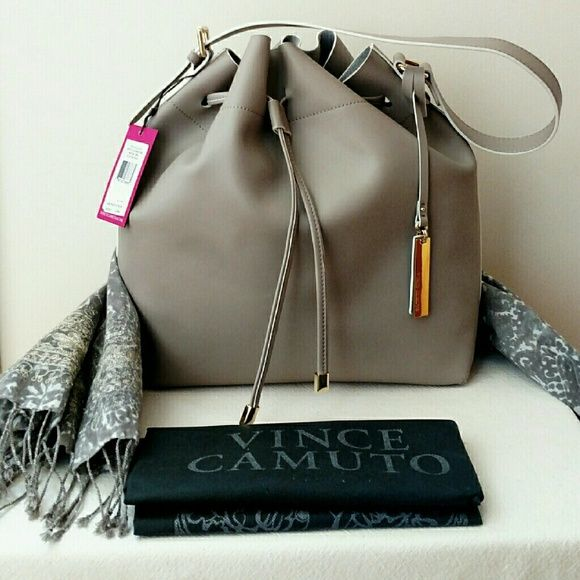 Vince Camuto Leila Leather Drawstring Bag