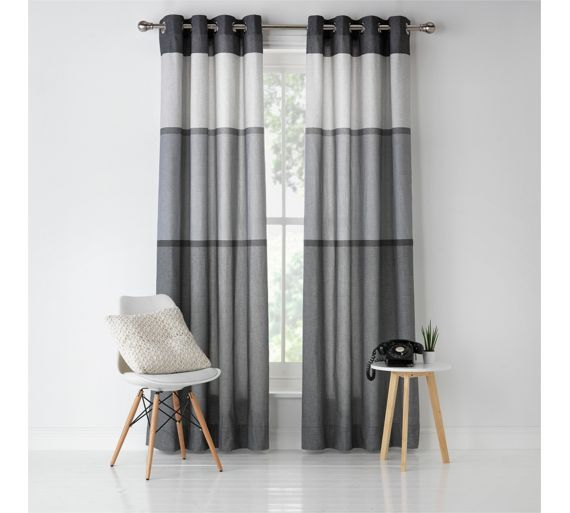 Buy HOME Banded Stripe Unlined Eyelet Curtains 117x137cm   Grey At Argos.co.  Grey Striped Curtains