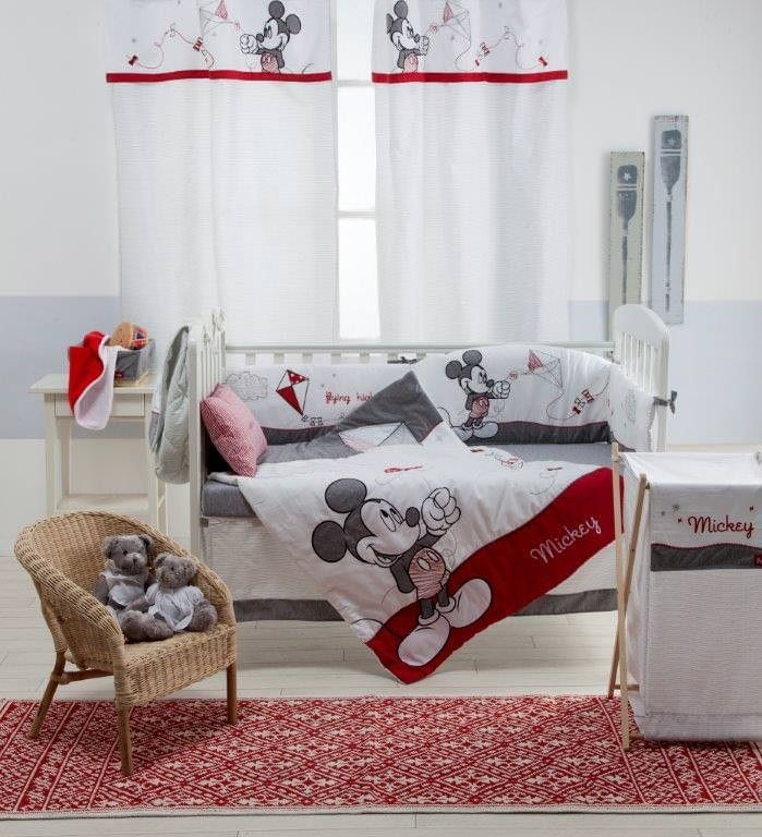 Disney Gray Mickey 4-Piece Crib Bedding Set