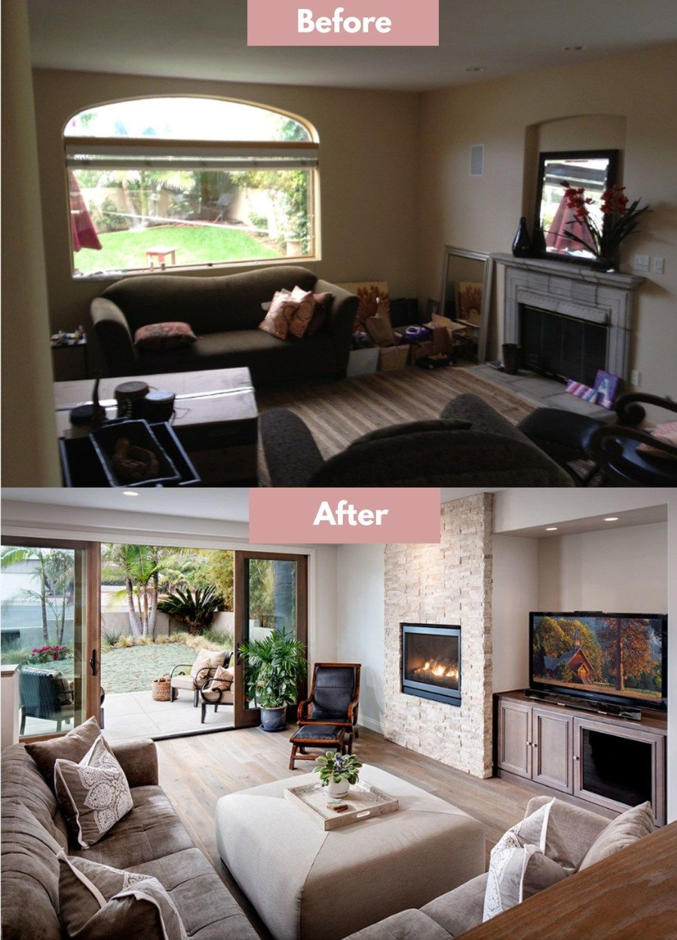 Fireplace Remodel Before And After Fireplace Remodel Living Room Design Small Spaces Living Room Design Layout