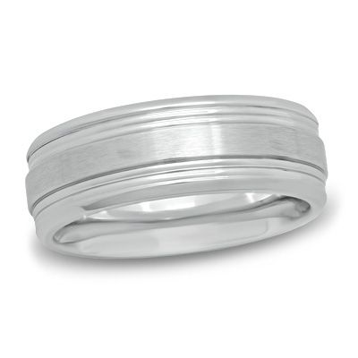 Zales Previously Owned - Mens 8.0mm Comfort-Fit Etched Center Black IP Wedding Band in Tantalum Rn9rKaD0n