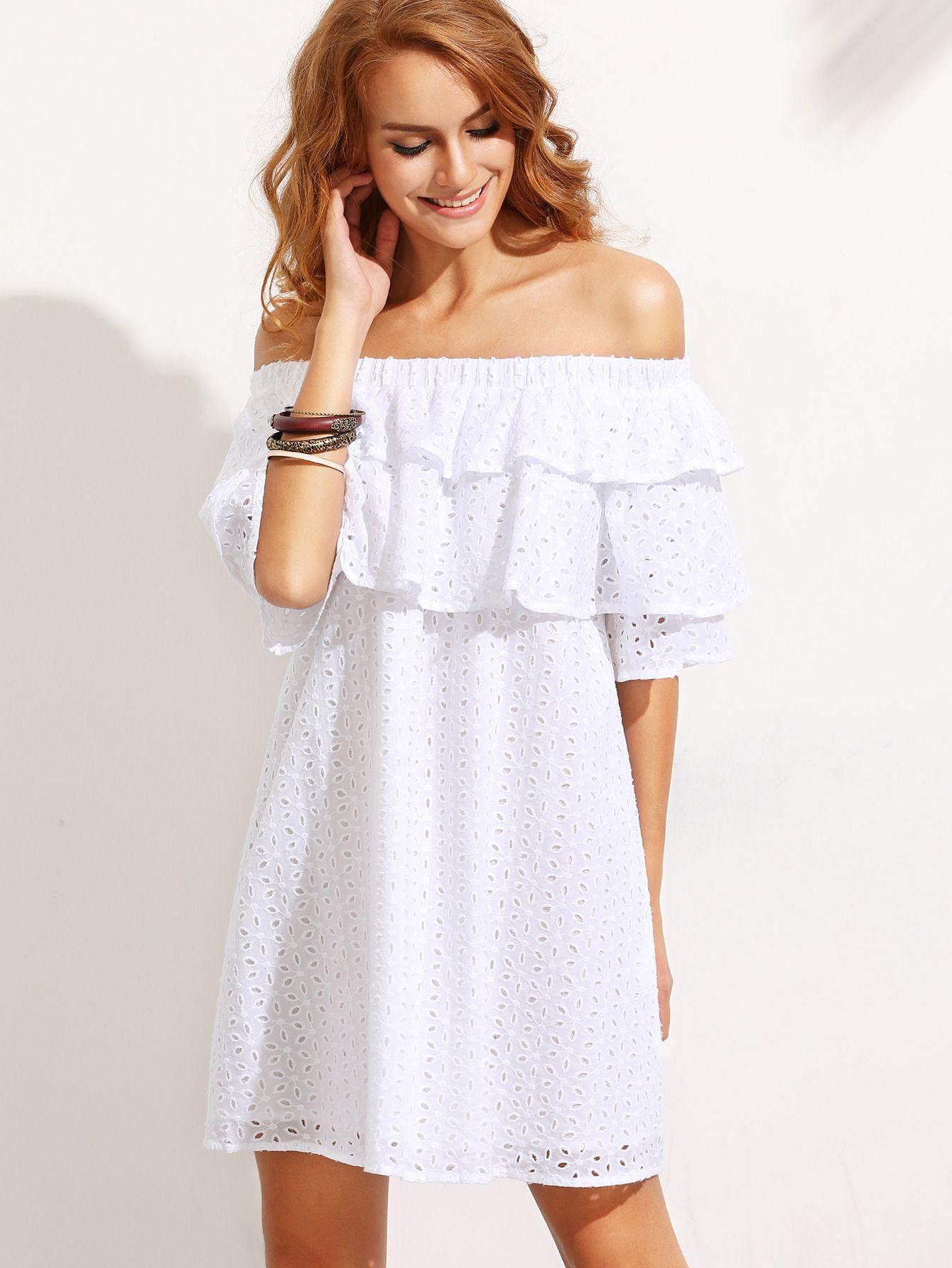 8b1304c31643 Shop White Ruffle Off The Shoulder Shift Dress online. SheIn offers White  Ruffle…