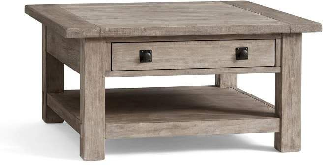 Pottery Barn Benchwright Square Coffee Table Gray Wash Furniture Reclaimed Wood Coffee Table Coffee Table Square