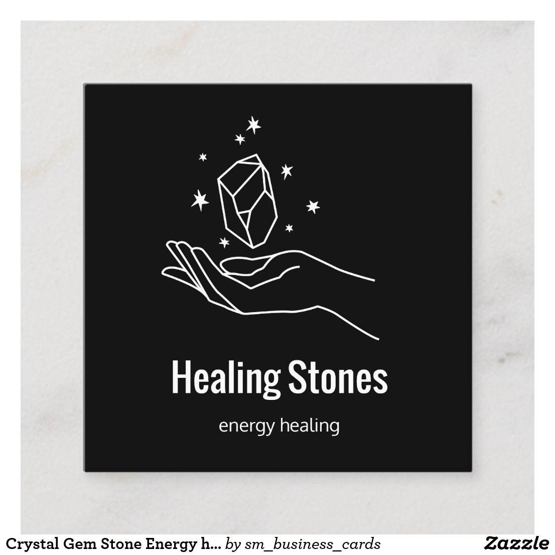 Crystal gem stone energy healer square business card