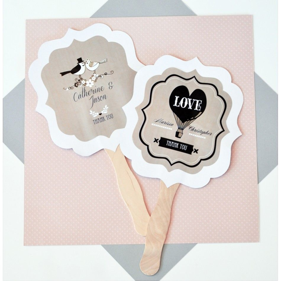 Personalized Paddle Hand Fans - Vintage Wedding [EB2354WV Hand ...