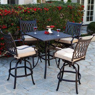 Palazetto Milan Collection Cast Aluminum Bar Height Dining Set   Outdoor  Dining Table Sets At Dining