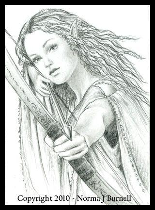 Elf Archer Portrat Frauen Wenn Du Mal Buch Schablonen