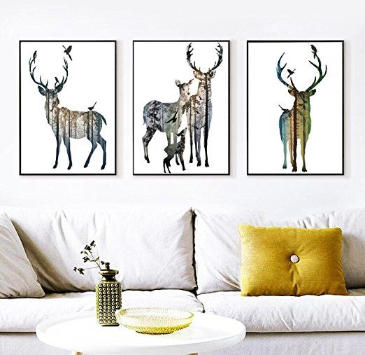 Animals Deer Pictures Home Decorations Black And White Modern Contemporary Abstract 3 Piece Paintings On Canva Deer Pictures Decorative Prints 3 Piece Painting