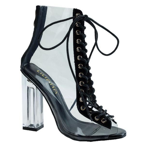 b646323adb4e Posh1 Black clear translucent transparent lace up peep toe ankle bootie w  perspex block heel High