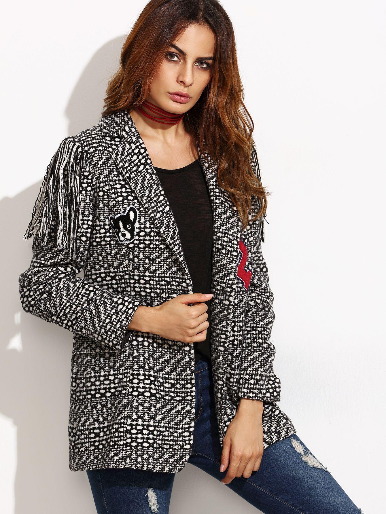 #AdoreWe #SheIn Blazers - SheIn Black And White Fringe Tweed Blazer With Embroidered Patch - AdoreWe.com