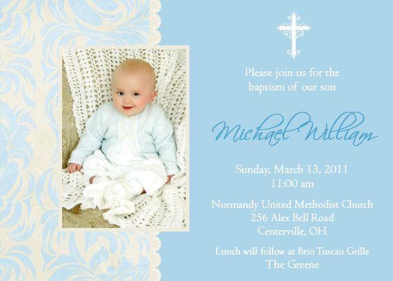 Baptism Invitation, Christening Invitation with Photo Christening - best of invitation wording lunch to follow