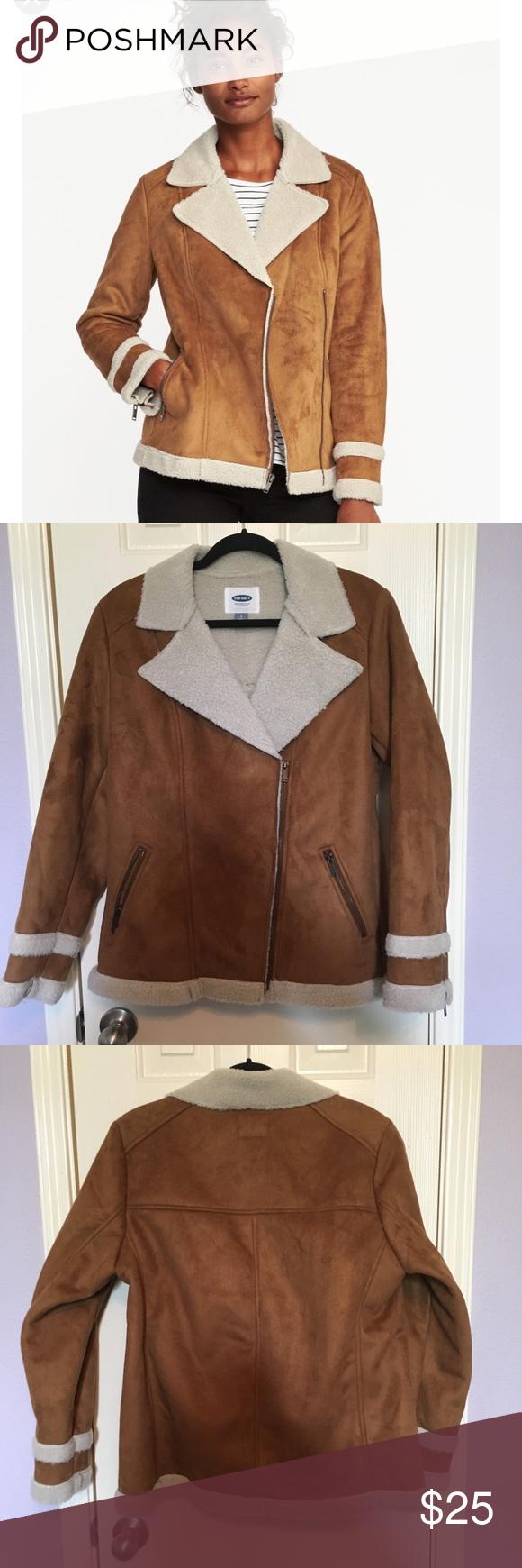 Old Navy sherpa lines faux shearling moto jacket Sherpa