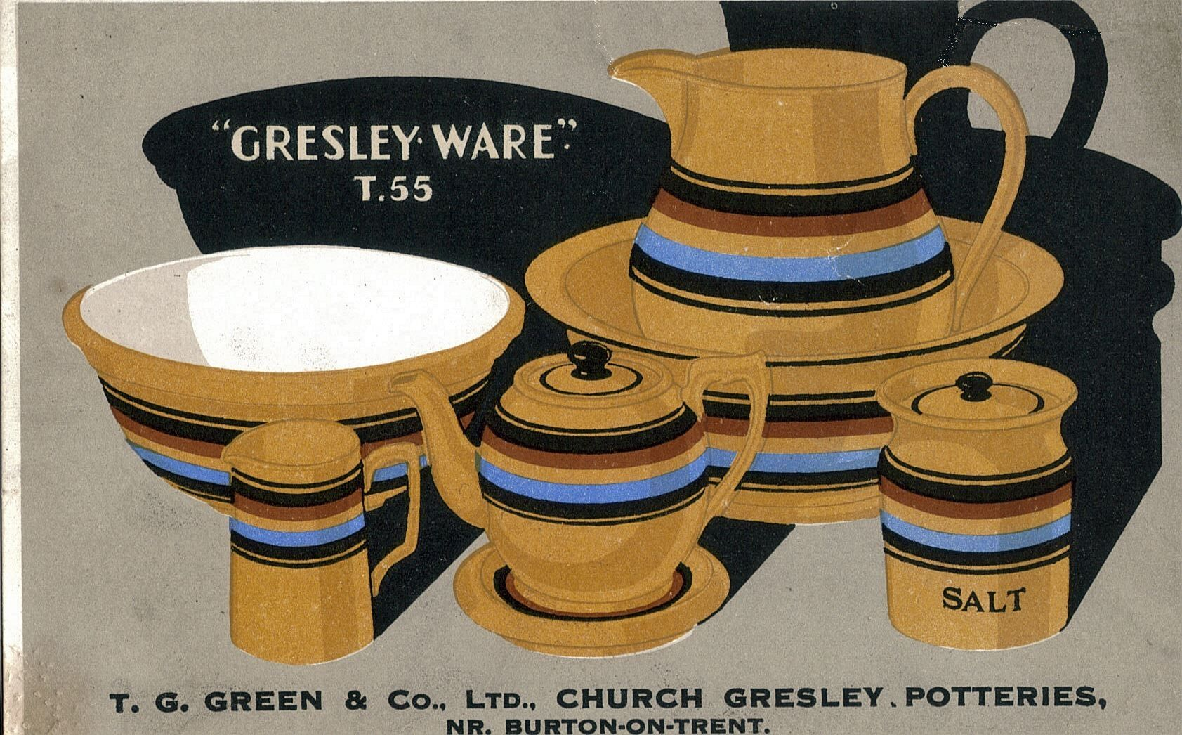 Gresley Ware advertising card with registered pattern