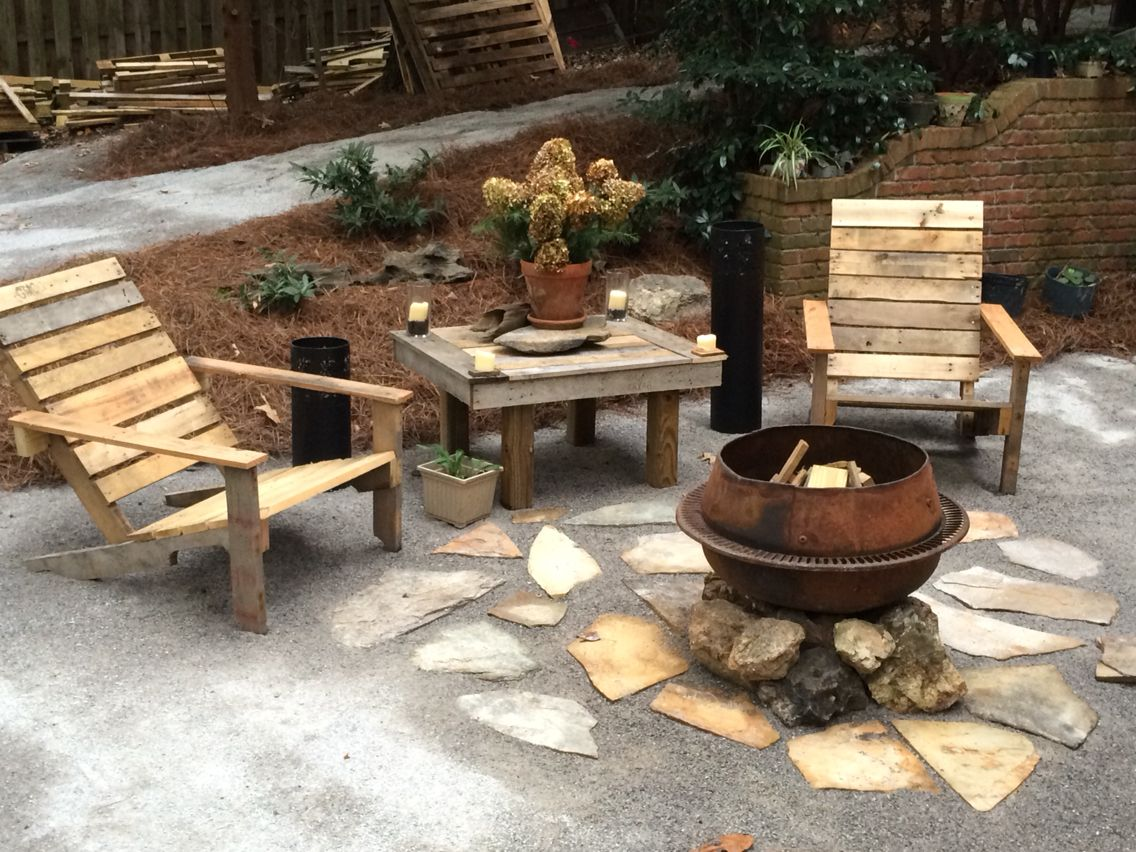 1964 cement mixer fire pit and pallet wood table and ...