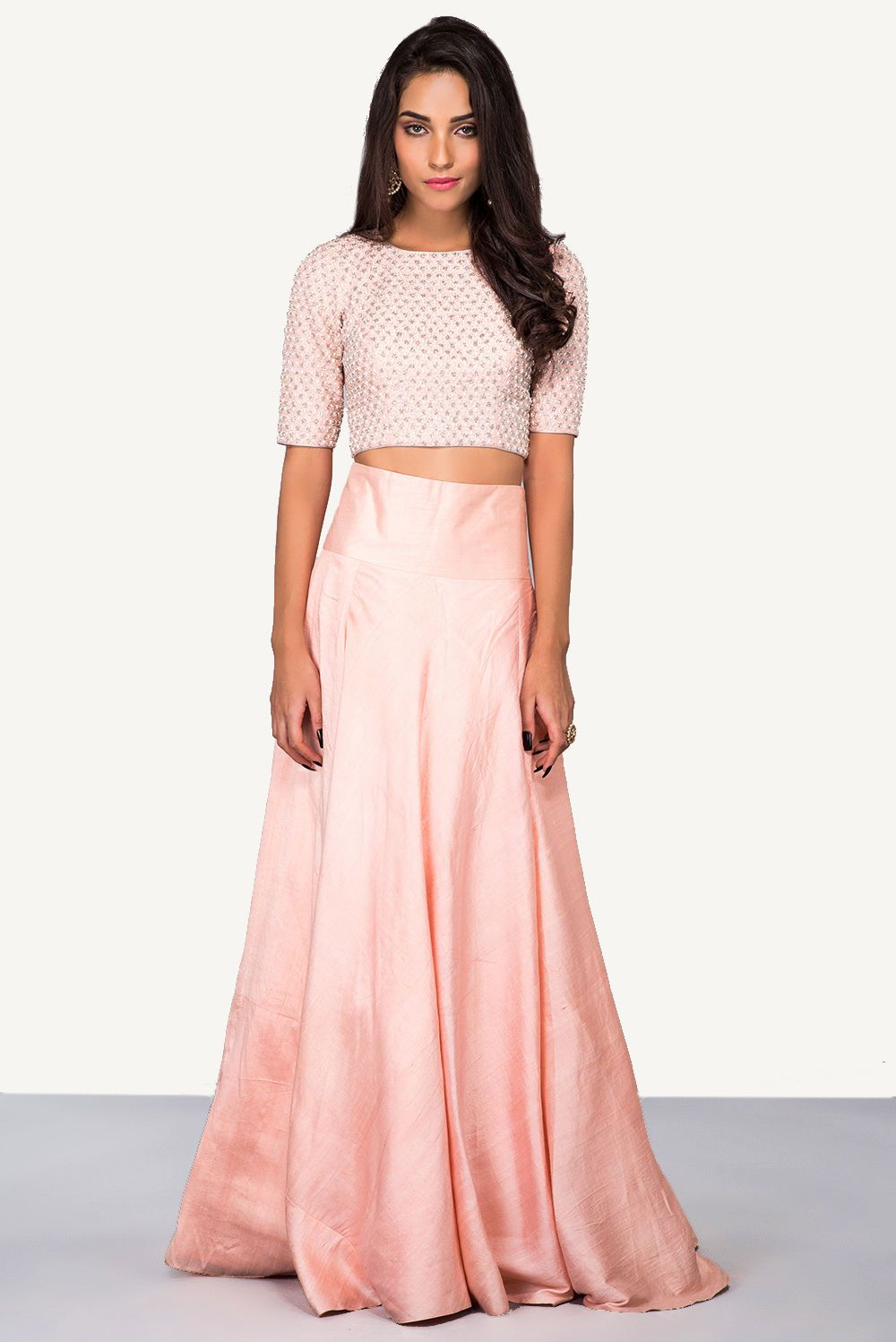 15997ebe443b7 Rent LTD ADDITION - Peach Embroidered Crop Top With High Waisted Skirt