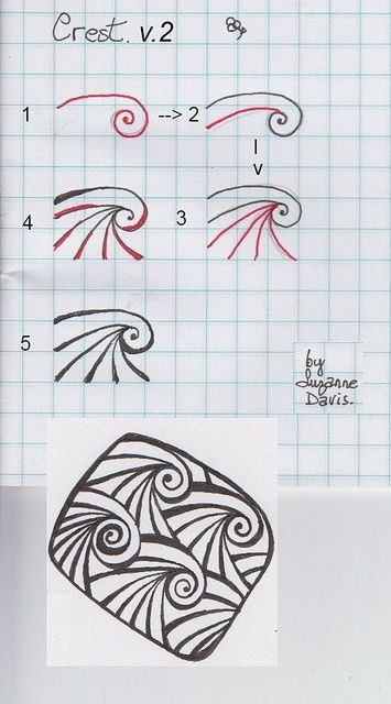Schritt für Schritt Zentangle Muster