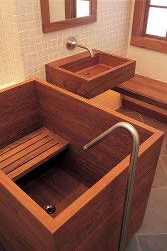 Baignoire Japonaise en bois et vasque en bois, en Teck ...