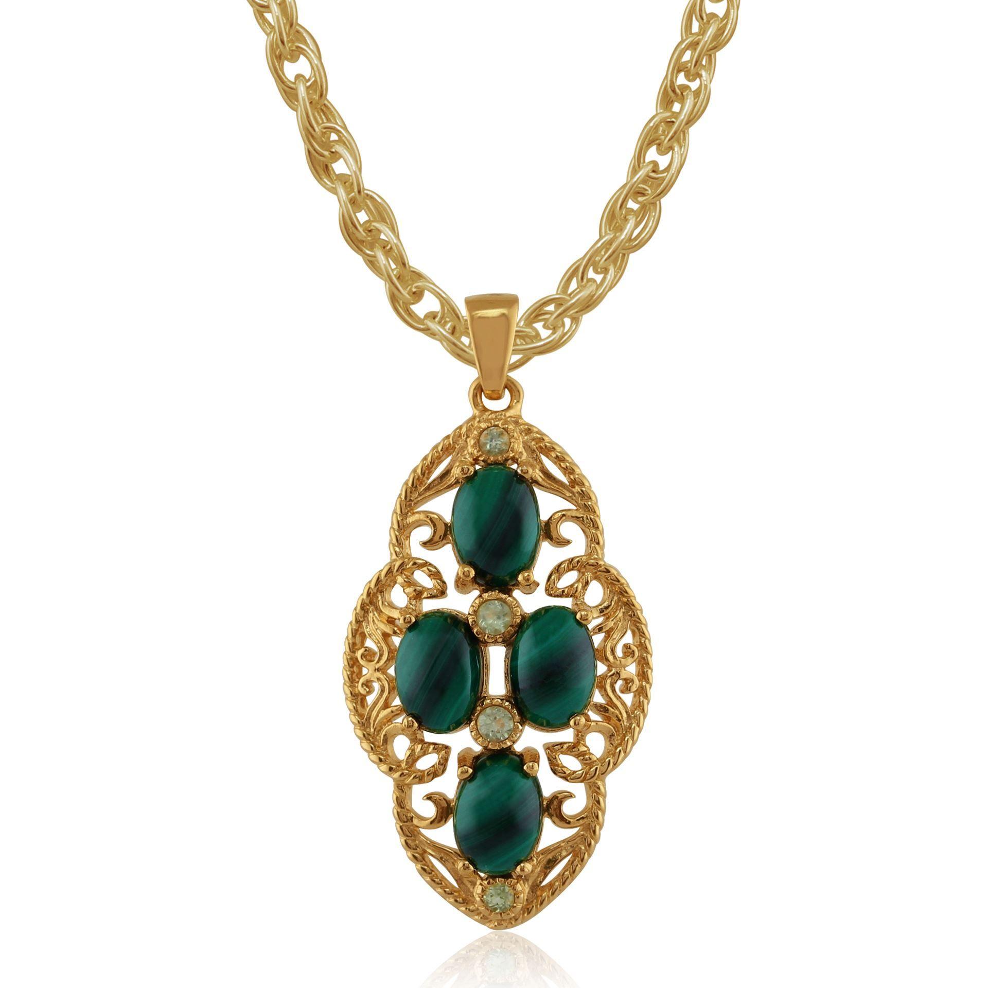 Gemondo Emerald Claddagh Style Cross, 9ct Yellow Gold 0.10ct Emerald Pendant on 45cm Chain