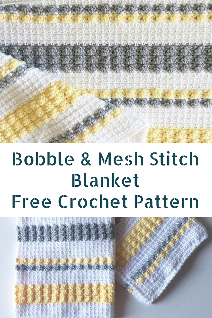 Crochet Gray And Yellow Bobble And Mesh Stitch Blanket For Happy ...