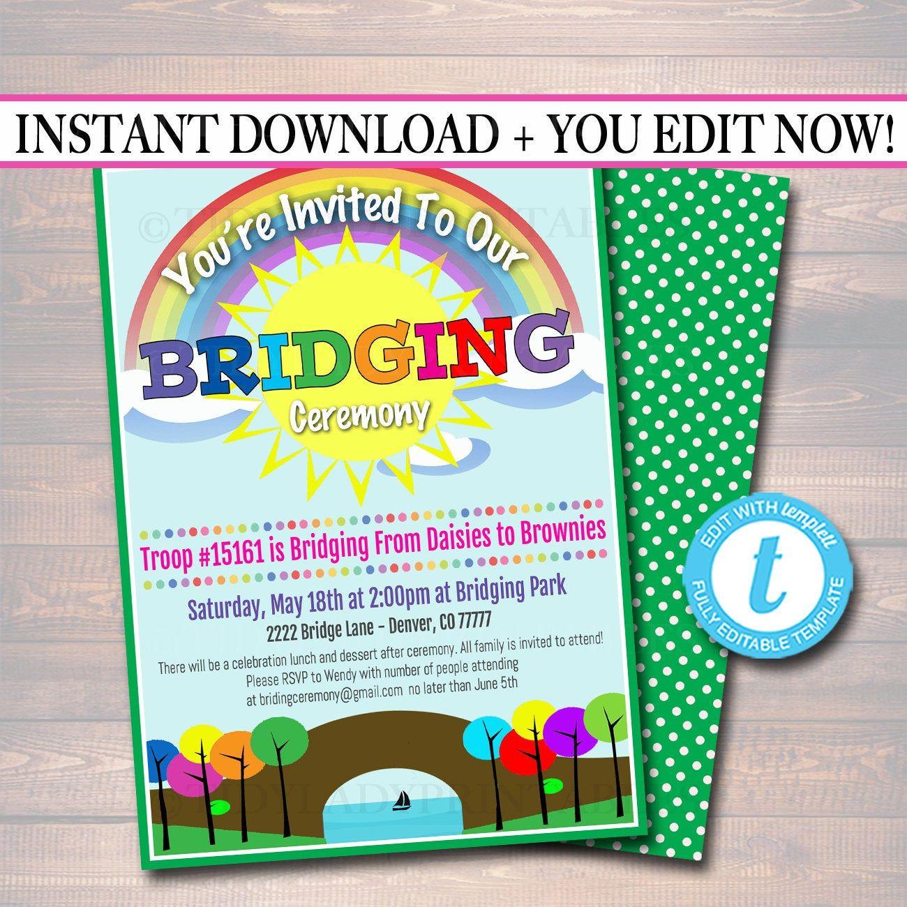 EDITABLE Bridging Invitation INSTANT DOWNLOAD, Bridging