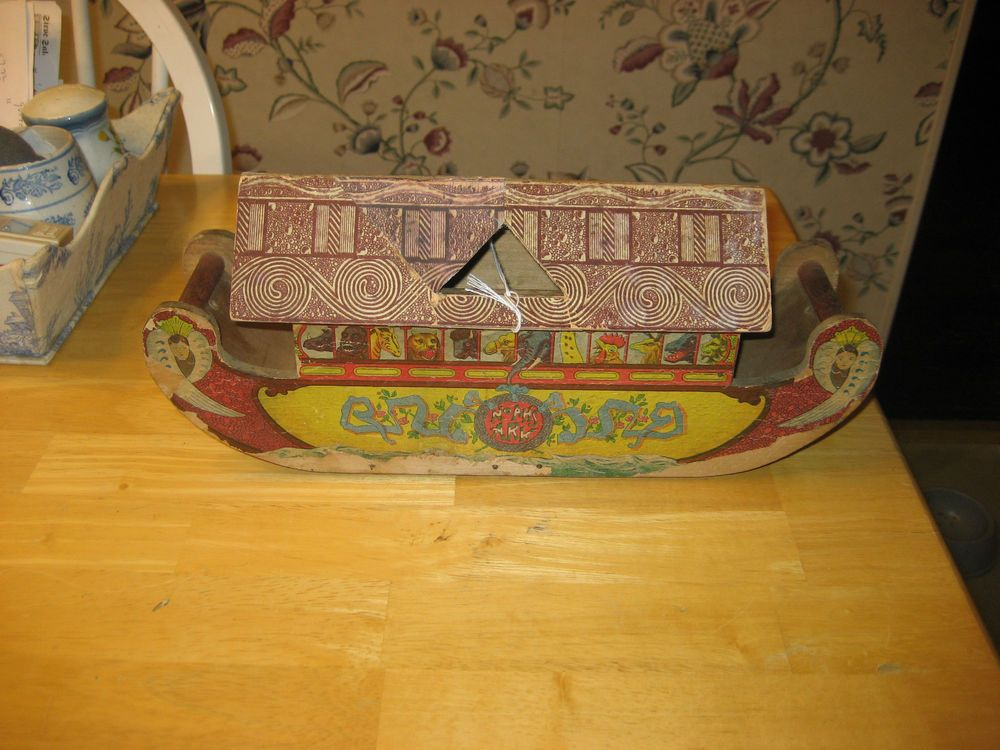 EARLY 1900S NOAH'S ARK MADE BY THE BLISS COMPANY WITH WHEELS ON THE BOTTOM CARDB #Americana