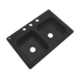 Dekor Master 22-In X 33-In Black Single-Basin-Basin Acrylic Drop-In 3-Hole Residential Kitchen Sink
