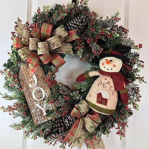 Snowman Wreath, Primitive Snowman, Xmas Door Wreath, Artificial