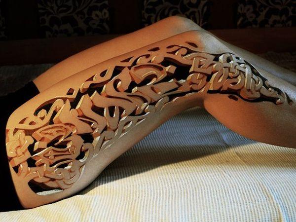 32 Intriguing 3d Tattoo For 2013 Thigh Tattoos Women 3d Leg