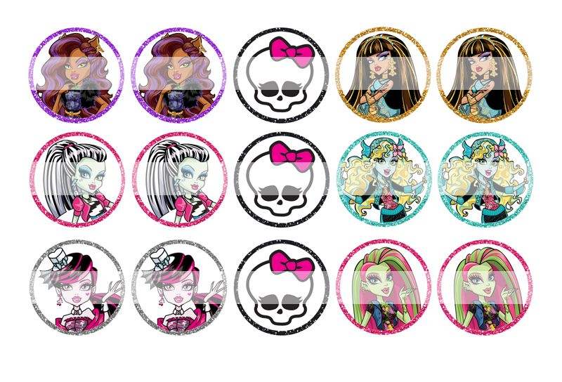"""Monster High - 1"""" Bottle Cap Designs / DIY Hair Accessories / DIY Earrings / DIY Necklace / DIY Key Chain / Birthday Party / Party Favors / DIY Magnets and more!"""