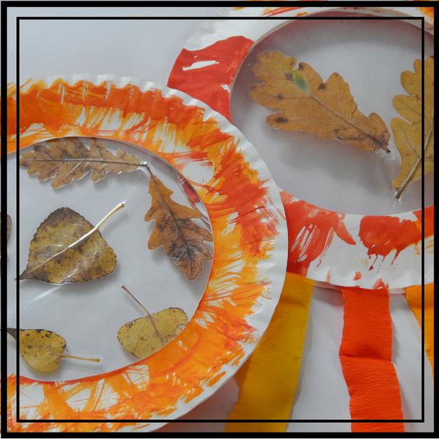 Familie und mehr : Mit Kindern für den Herbst basteln - Sonnenfänger aus Papptellern #laternekleinkind